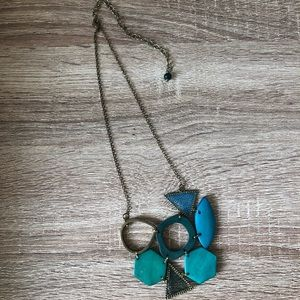 Chunky Teal Statement Necklace 🦚